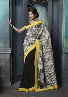 Black and White Colour Bhagalpuri and Wrinkle Chiffon Material Casual Sarees : Designer Print Collection - YF-10124 Best Price 1,449