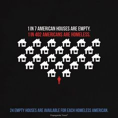 1 in 7 Homes are Empty... 1 in 402 People are Homeless... There are 24 Empty Homes for every 1 Homeless Person