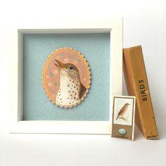 Thrush, song bird, bird painting, bird art, Menagerie
