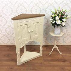 Shabby Chic Cabinet Display Corner Cupboard Dresser Kitchen Dining Vintage  White