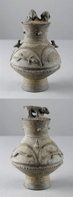 Africa | Pot with lid from the Baule people of Ivory Coast | Terracotta | Most likely to have been used to store valuables, medicines or magical substances