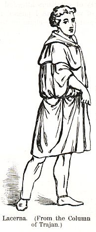 Lacerna - A type of cloak, fastened on the right shoulder with a fibula, that the Romans adopted from neighboring peoples. It was worn over the tunic, or over the toga. Ancient Romans, Ancient Egypt, Roman Fashion, Cloak, Cold Weather, Statues, Cape, Tunic, Outdoors