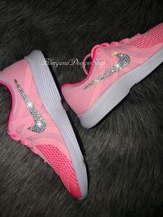 e1a777994a053 Swarovski Bling Nike Shoes Revolution 4 Girls Nike Shoes Custom with  Swarovski Crystal Rhinestones