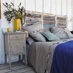 Bedroom: Rustic Bedroom Design With Unique Homemade Headboards Plus Nightstand And Wooden Floor Shabby Chic Headboard, Window Headboard, Shabby Chic Bedrooms, Shabby Chic Homes, Beach Headboard, Queen Headboard, Stylish Bedroom, Shutter Headboards, Headboards For Beds