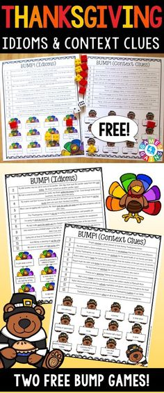 Thanksgiving Games FREE contains 2 fun and engaging Thanksgiving-themed bump games to help students to practice idioms and context clues. These games are so simple to use and require very minimal prep. They are perfect to use in your November reading centers or as extension activities when students complete their work!