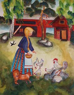 Feeding Chickens by Mirja Clement Illustrations, Illustration Art, 3d Chalk Art, Country Quilts, Farm Art, Chicken Art, Chickens And Roosters, Naive Art, Art World