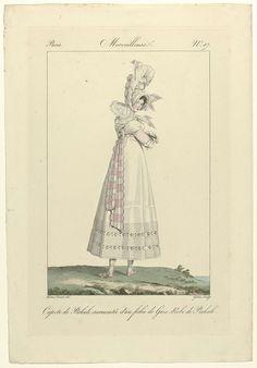 Georges Jacques Gatine   Incroyables et Merveilleuses, 1813, Merveilleuse, No. 17: Capote de Perkale..., Georges Jacques Gatine, 1813   'Merveilleuse', op de rug gezien, met op het hoofd een 'capote' van katoenbatist (percale)  , waaromheen een fichu van tule is gebonden. Zij draagt een japon met pofmouwen van katoenbatist (percale)  . Verdere accessoires: fichu om de hals, geruite ceintuur met geschulpte zoom, lange handschoenen, gestreepte kousen, platte schoenen met banden om de enkels…