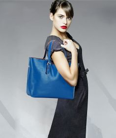 Blue candy classic style soft genuine leather tote bags by starbag, $49.59