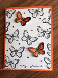 HINT love the black and white with just a punch of color on the same design - Scrapbooking Ideas Scrapbook, Scrapbook Cards, Scrapbook Designs, Making Greeting Cards, Greeting Cards Handmade, Butterfly Cards Handmade, Paper Cards, Diy Cards, Karten Diy