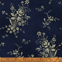 """First Ladies - Nancy Gere - Windham Fabrics 36233 1 Navy Floral Spray 100% Cotton 44-45"""" wide 1800's Reproduction Fabric"""