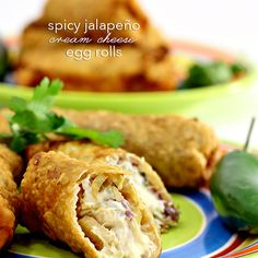 Spicy Jalapeno Cream Cheese Egg Roll Recipe - Wanna Bite  I might omit the egg and add some real jalapeños and ground beef & sausage.  :P