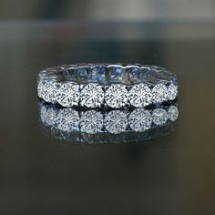 4.5 ct tw (3.75 mm) round prong set all around classic eternity band 635R103 , simulated diamond wedding ring.