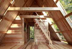 I love this sustainable, bright, but small wooden house in Japan! Building Research Institute wooden Oak Village - Oak Village Wooden Architecture Laboratory