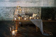 vintage neutral tablescape