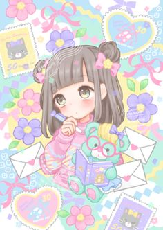 Kawaii art by manamoko - Anime Kawaii Anime Girl, Loli Kawaii, Kawaii Chibi, Anime Girls, Anime Chibi, Anime Pokemon, Wallpapers Kawaii, Kawaii Wallpaper, Girl Wallpaper