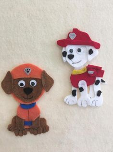 Ryder and the Pups Paw Patrol Marshall Chase Skye Zuma Felt Kids, Paw Patrol Pups, Felt Pictures, Felt Letters, Felt Garland, Letter A Crafts, Felt Crafts, Art Projects, Christmas Crafts