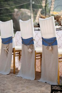 anna chair cover & wedding linens rental burnaby bc glider rocker and ottoman metal by child care 100 best decorations images decorated chairs sashes nautical tri color linen covers with shell 8 wildflower beach dining tablescape inspiration