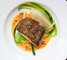 A Recipe by Saul Bolton | Black Bass with braised fennel, sweet pea puree, saffron-chamomile sauce