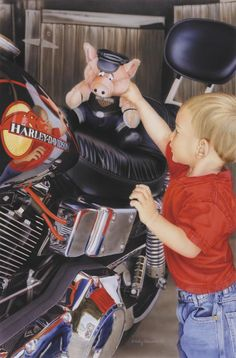 """""""Pit Stop"""" - Limited Editions - All Artwork - Holly Ellsworth - Motorcycle Art   Fine Art World"""
