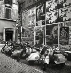 This photograph is byc4rrff xxr rX rx.   Phillip Harrington for ' Look ' magazine. My (inexperienced) guess from front to rear:  1. Lambretta 150 LD (with af...