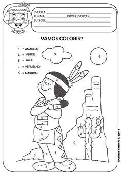A Arte de Ensinar e Aprender: Atividades índios - colorir de acordo ao numeral
