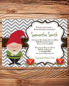 Gnome Baby Shower Invitation,  baby shower invite, gnome, Chevron Stripes, gray, red, brown, Boy, Girl (Item 5174) by StellarDesignsPro on Etsy https://www.etsy.com/listing/116674009/gnome-baby-shower-invitation-baby-shower
