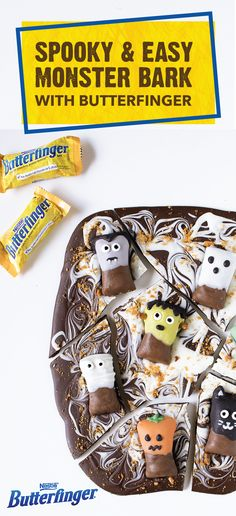 Halloween has never looked so tasty thanks to the crispety, crunchety, peanut-buttery taste of this Butterfinger Monster Bark. This no-bake dessert uses BUTTERFINGER® Fun Size candy bars to create some spooky sweet fun that the little monsters in your life are sure to love. Click here to view the full easy recipe.