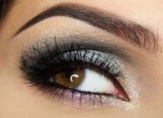 brown eyes silver makeup