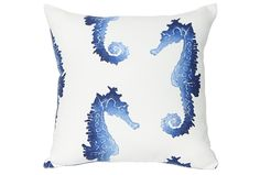 Why do you need the Seahorse blue 18x18 outdoor accent pillow dressing up your spaces? Because seahorses, that's why.