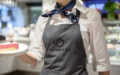 Brand identity and branded apron by Bond for cruise ship cafeteria concept Coffee & Co.