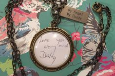 Save a loved ones note and/or signature forever! Perfect for Mother's Day!  Plunder Design, Atlas Necklace, Personalize, Vintage, Jewelry. Non-copyrighted images only.