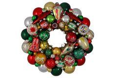 Silver, Green  Red Ornament Wreath
