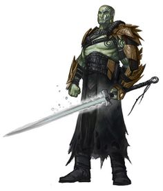 Male half-orc slayer fighter.