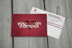 Kettle Fire Creative, You Met on Campus, postcard, Drury, university, Valentine, Valentine's Day, V-Day, heart, dating, couple, invitation, red, direct mail