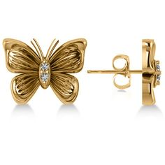 Allurez Diamond Butterfly Stud Earrings 14k Yellow Gold (0.02ct) ($390) ❤ liked on Polyvore featuring jewelry, earrings, long earrings, diamond earrings, gold butterfly earrings, stud earrings and diamond stud earrings