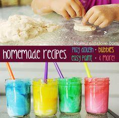 Homemade bubbles, play dough, etc. recipes.