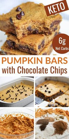 Easy to make low-carb and gluten-free pumpkin bars with chocolate chips that have no sugar added. They're so good even the kids love them. Sugar Free Desserts, Sweets Recipes, Baking Recipes, Keto Recipes, Paleo Meals, Paleo Food, Fast Recipes, Veggie Food, Kitchen Recipes