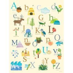 Oopsy Daisy Nature's Alphabet Stretched Canvas Wall Art