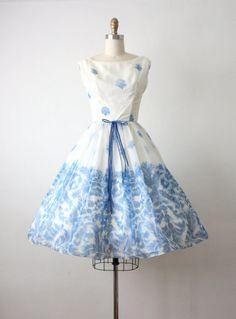 50s dress / blue danube waltz dress / 1950s dress by 1919vintage