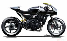 2017 Honda CB4 'Interceptor' Concept Bike Sketch, Motorbike Design, 3rd Wheel, Custom Motorcycles, Ducati, Bobber, Custom Cars, Motorbikes, Futuristic