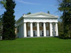 GREEK REVIVAL ~ Main House Andalusia, located near Philadelphia, is one of the most widely noted Greek Revival houses in the country and features many of the hallmarks of this architectural style. Designed in 1835 by Thomas U. Walter, the main house at Andalusia is dominated by a monumental, temple facade and colonnade, or a long sequence of columns.