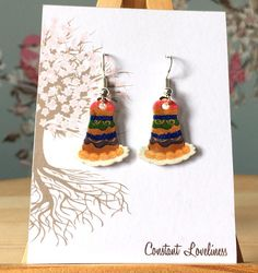 Mendls Cake Earrings - Digitally Drawn Plastic Earrings on silver plated drop earrings The Grand Budapest Hotel Inspire