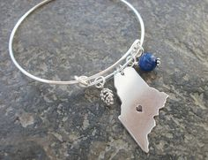 Maine State Aluminum Adjustable Bangle Bracelet  by allstrungout1, $21.00
