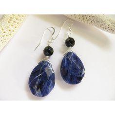 Sodalite Earrings, Sterling Silver Earrings, Stone Earrings, Blue... ($20) ❤ liked on Polyvore featuring jewelry and earrings
