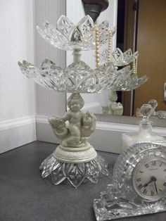 Two Tiered Glass Dish Cherub Vintage Assemblage by tawnystreasures, $38.00