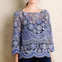 Montemarte Peasant top Brand new with tags. Cotton-polyester lace; polyester lining Pullover styling Machine wash Imported Style No. 4110339186867 Anthropologie Tops Blouses