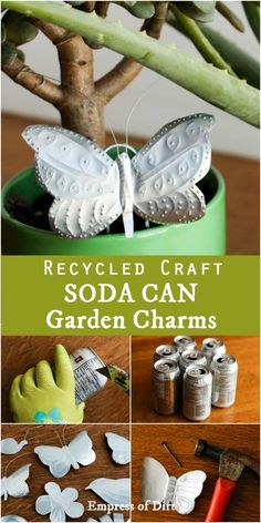 Turn old soda pop cans into decorative charms. Turn soda pop cans into decorative charms! This simple craft usues the metal from pop cans to create punched tin butterflies, flowers, birds, and more. Tin Can Art, Soda Can Art, Tin Art, Recycled Decor, Recycled Crafts Kids, Handmade Crafts, Recycled Furniture, Handmade Furniture, Aluminum Can Crafts