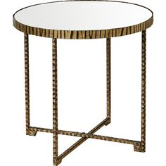 Uttermost Myeshia End Table $143, 20 x 20. Pouf would squeeze under, though table base might make pouf wobble.