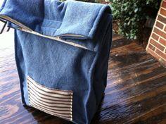 Denim Cotton Lunch Bag - NonPaper Lunch Sack - Back To School Lunch Bag - Denim Lunch Bag
