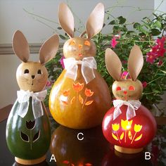 Gourd rabbits that light up! What a unique way to display Spring or Easter in your home.